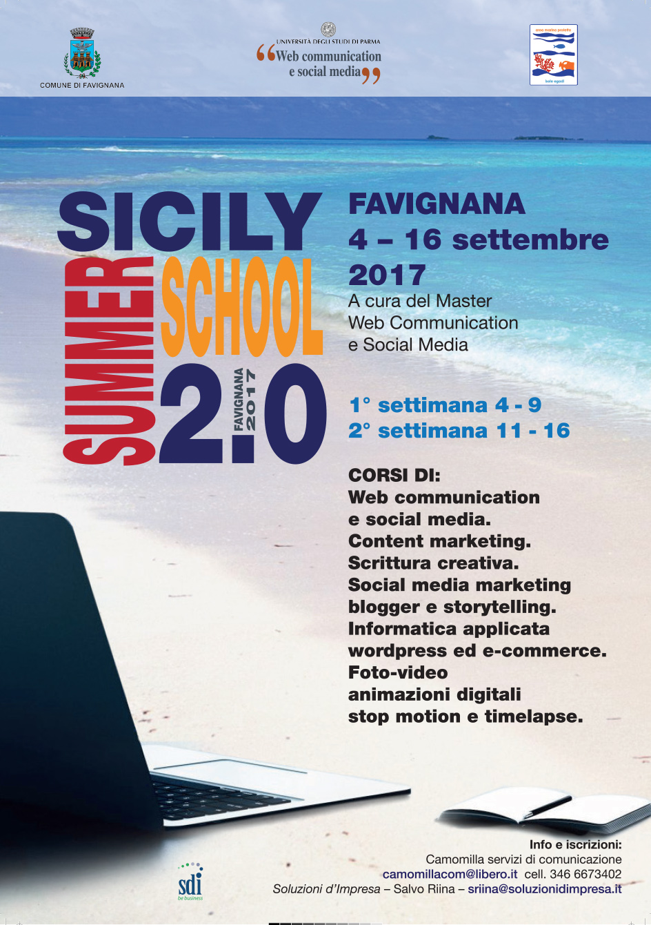 Sicily Summer School 2.0 – Web Media Master alle Egadi – 2017