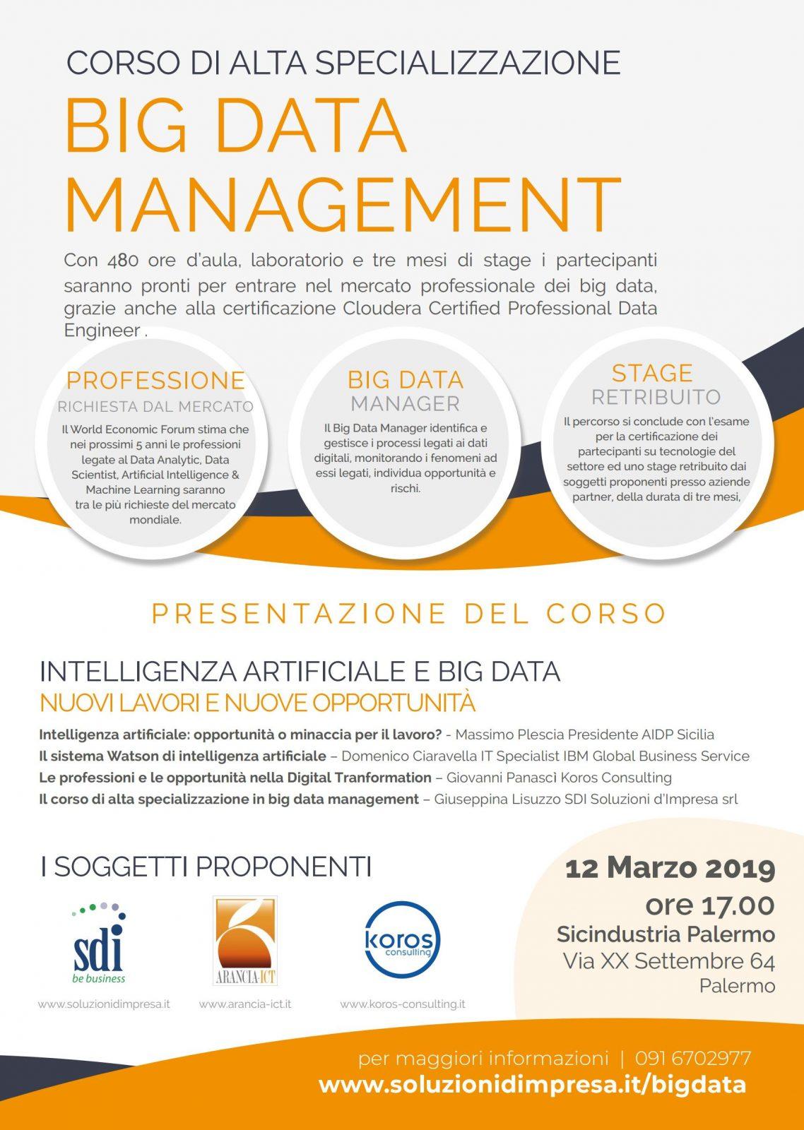 Corso di alta specializzazione BIG  DATA management