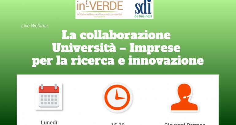 Webinar Gratuito 8 Luglio – La collaborazione Università – Imprese per la ricerca e innovazione